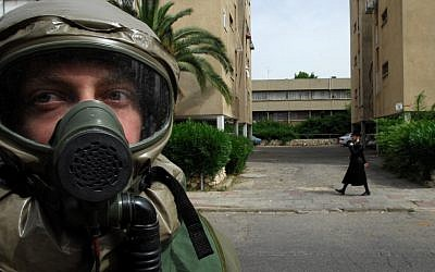 An IDF drill simulating an attack on Israel with chemical weapons, 2008 (photo credit: Gili Yaari/Flash 90)