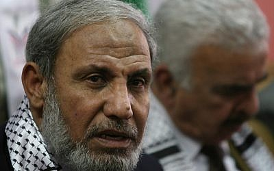 Senior Hamas leader Mahmoud al-Zahar giving a press conference in 2008 (photo credit: Wissam Nassar/Flash90)