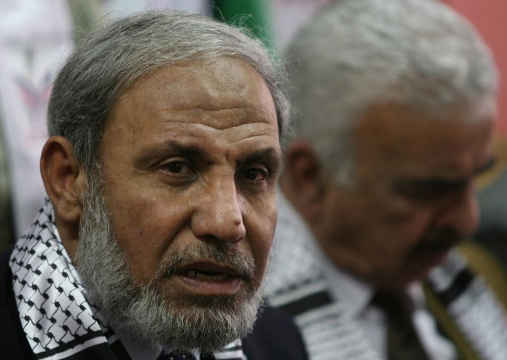 Senior Hamas leader Mahmoud al-Zahar giving a press conference in 2008 (photo credit: Wissam Nassar/Flash90)