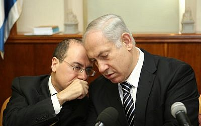 Silvan Shalom and Benjamin Netanyahu during a 2009 cabinet meeting (photo credit: Ariel Jerozolimski/Flash90)