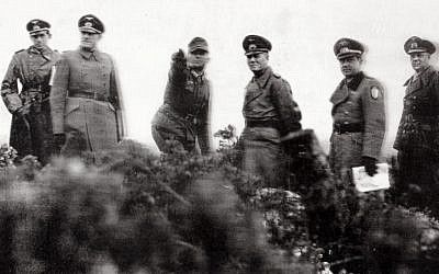 Joseph Goebbels (third from right) overlooks Utah Beach with other Nazi officers on March, 3, 1944. (photo credit: Flash90)
