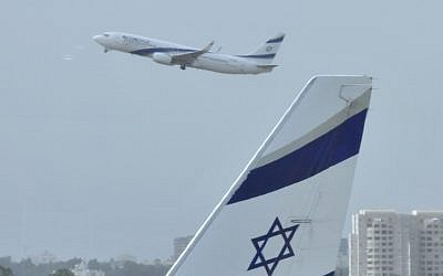 Illustrative photo of planes at Ben Gurion International Airport near Tel Aviv (photo credit: Serge Attal/Flash90)
