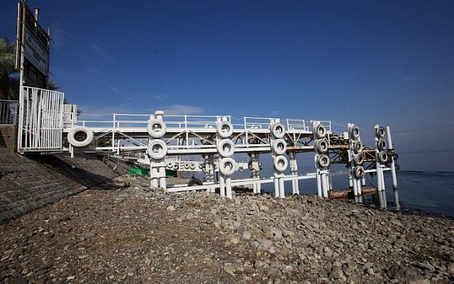 An exposed pier in the city of Tiberias (photo credit: Doron Horowitz/Flash90)