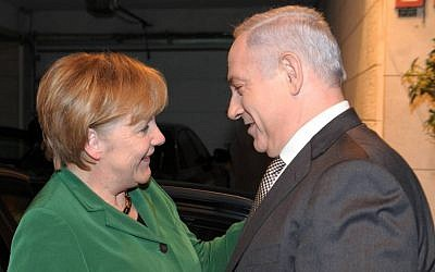 Prime Minister Benjamin Netanyahu with German Chancellor Angela Merkel in Jerusalem in 2011 (photo credit: Amos Ben-Gershom/GPO/Flash90)
