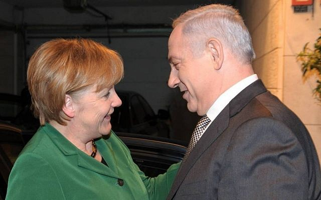 Prime Minister Benjamin Netanyahu with German Chancellor Angela Merkel in Jerusalem in 2011 (photo credit: Amos Ben-Gershom/GPO/Flash90)