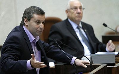 Minister of Tourism Stas Misezhnikov addresses the Knesset, July 2011 (photo credit: Miriam Alster/Flash90)