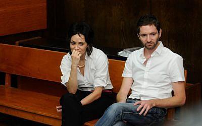 Former Haaretz journalist Uri Blau (right) in court, July 2012 (photo credit: Yossi Zeliger/Flash90)