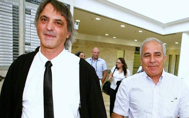 Kiryat Malakhi Mayor Motti Malka, right, with his attorney Moti Khimi (photo credit: Yehoshua Yosef/Flash90)