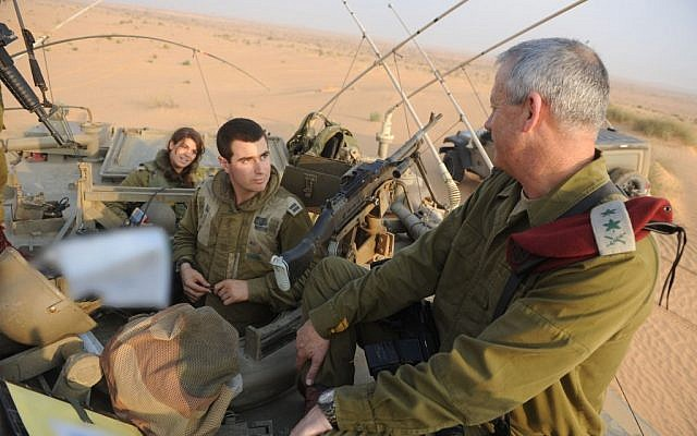 IDF Chief of General Staff Lt. Gen. Benny Gantz visiting a combat brigade, August 2012 (photo credit: DOTZ/Flash90)