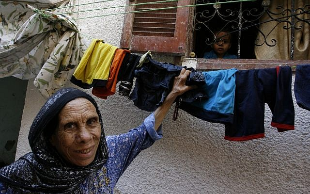 A Palestinian woman in the Rafah refugee camp, September 4, 2012 (photo credit: Abed Rahim Khatib / Flash 90)