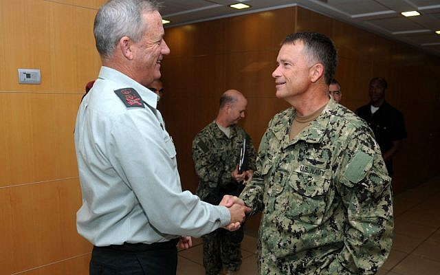 IDF Chief Benny Gantz meets with Admiral James Winnefeld on September 6.  Did Winnefeld convince Israel not to attack Iran?  (photo credit: Shay Wagner/IDF Spokesperson/FLASH90)
