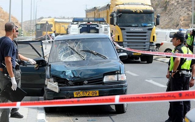 The vehicle involved in Sunday's hit-and-run in which Lior Farhi was killed. (photo credit: Yossi Zeliger/Flash90)