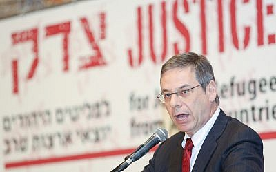 Former deputy foreign minister Danny Ayalon speaks at the 'Justice for Jewish Refugees from Arab Countries' conference in Jerusalem (photo credit: Oren Nahshon/Flash90)