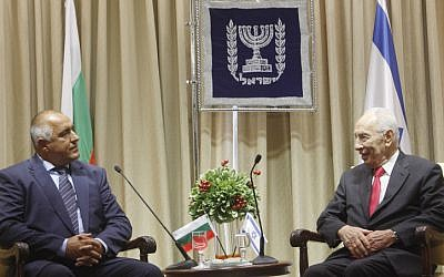 Bulgaria Prime Minister Boyko Borisov meets with Israel President Shimon Peres at the President's Residence in Jerusalem on Tuesday (photo credit: Miriam Alster/Flash90)