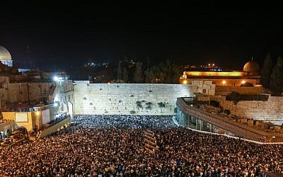 Tens of thousands gather for a mass selichot prayer service at the Western Wall in Jerusalem on September 24, 2012. (photo credit: Oren Nahshon/Flash90)