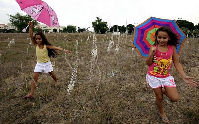 Israeli children running with umbrellas in a field of sea squill flowers in the city of Ashkelon, during the first rain of the year. September 29, 2012. (photo credit: Edi Israel/Flash90)