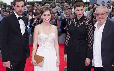 From left, actors Yiftach Klein, Hadas Yaron, Irit Sheleg, and Chaim Sharir arrive for the premiere of the movie 'Fill The Void' at the Venice Film Festival, September 2 (photo credit: Joel Ryan/AP)