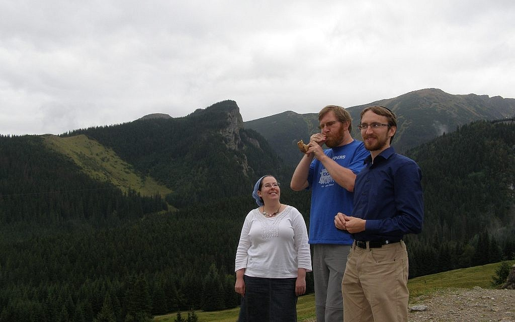 Right to left: Jakob Staszevski, Tyson Herberger and Rebecca Herberger at Kalatowki Lodge in southern Poland, Sept. 6, 2012. (photo credit: Cnaan Liphshiz/JTA)