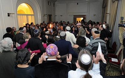 Participants celebrating during services at the World Union for Progressive Judaism Conference of Jewish Communities in Buenos Aires, Argentina, Aug. 2012. (photo credit: Diego Melamed/JTA)