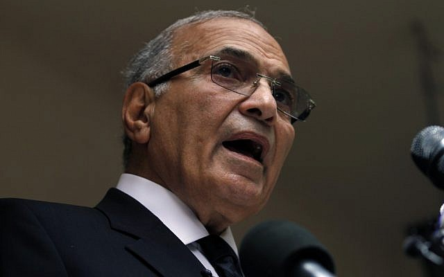 Former Egyptian presidential candidate Ahmed Shafiq speaks to the media, May 2012. (photo credit: Khalil Hamra/AP)
