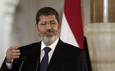Egyptian President Mohammed Morsi (photo credit: AP/Maya Alleruzzo)