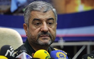 Commander of Iran's Revolutionary Guard, Gen. Mohammad Ali Jafari, attends a press conference in Tehran earlier this month (photo credit: AP/Vahid Salemi)