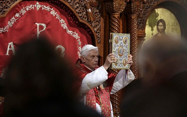 Pope Benedict XVI leads a ceremony in St. Paul Basilica in Harissa, near Beirut, on Friday, September 14, 2012 (photo credit: AP/Alessandra Tarantino)
