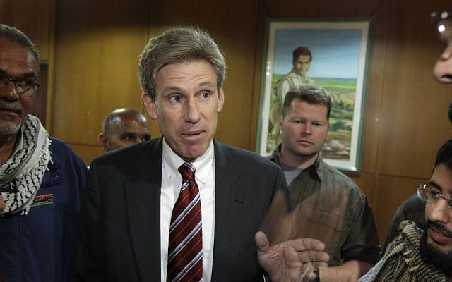 US envoy Chris Stevens speaking to local media in Benghazi in 2011. (photo credit: AP/Ben Curtis)
