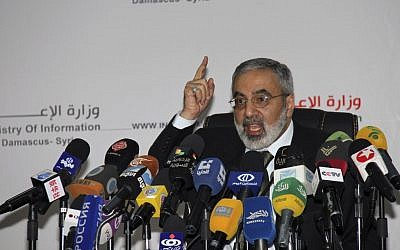 Syrian Information Minister Omran al-Zoubi speaks during a press conference in Damascus, Syria, September, 2012. (photo credit: AP/Bassem Tellawi)