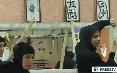 Iranian women train in martial arts (photo credit: screen capture/YouTube/PressTV)