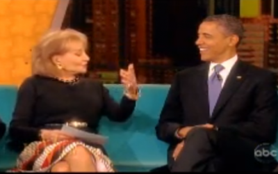"US President Barack Obama speaking with Barbara Walters on ""The View"" in May (photo credit: screen capture, YouTube)"