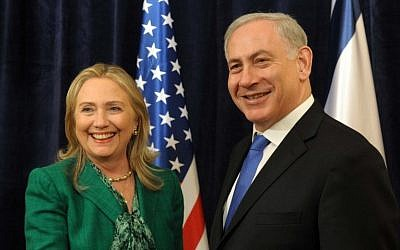 Prime Minister Benjamin Netanyahu (right) meets with US secretary of state Hillary Clinton in September 2012. (PMO)