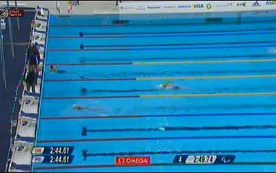 Inbal Pezaro on her way to her second bronze medal at the London Games on Saturday (photo credit: screen capture iba.org.il)