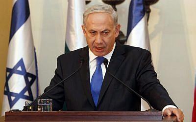 Prime Minister Benjamin Netanyahu speaking in Jerusalem on the 11th anniversary of the September 11 attacks. (photo credit: Gali Tibbon/AP)