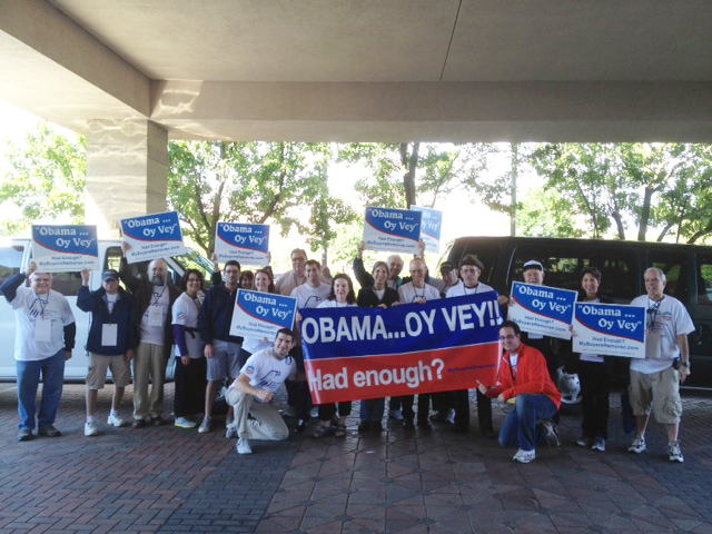 Republican Jewish Coalition volunteers in Cleveland preparing to protest Obama at the Browns-Eagles NFL game, Sept. 9, 2012. (photo credit: Courtesy RJC/JTA)