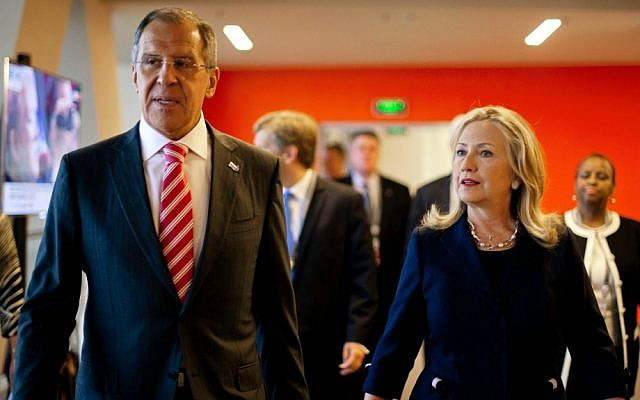 Former US secretary of state Hillary Clinton, right, and Russian Foreign Minister Sergey Lavrov during the Asian-Pacific Economic Cooperation (APEC) Summit in Vladivostok, Russia, in September, 2012 (Jim Watson/AP)