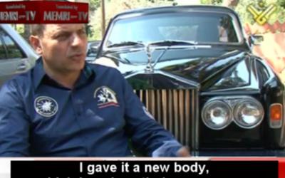 Jamal Hashoush with his Rolls Royce (photo credit: Memri screenshot)
