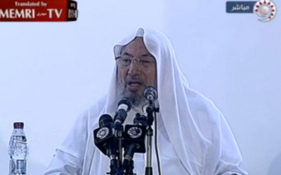 Sheikh Yusuf Al-Qaradawi delivering a Friday sermon on September 14, 2012. (screen capture: MEMRI)