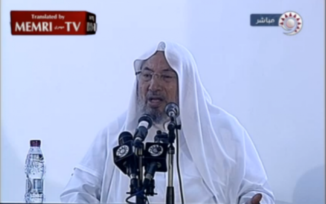 Sheikh Yusuf Al-Qaradawi delivering a Friday sermon on September 14. (photo credit: image capture from MEMRI video)