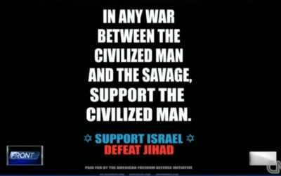 Anti-Jihad ad published in NYC subways last year (photo credit: CNN screenshot)