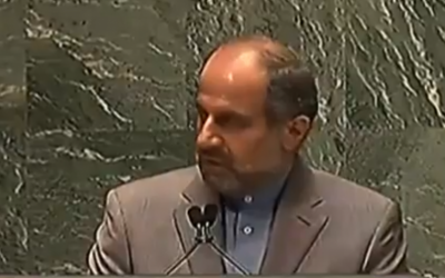 Iranian Deputy Ambassador to the UN Eshaq Al-e-Habib (photo credit: Image capture from YouTube video uploaded by UpdatesWorldNews)