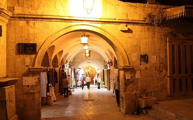 The medieval Souk Al Zirb in Aleppo (photo credit: Anas A/Wikimedia Commons)