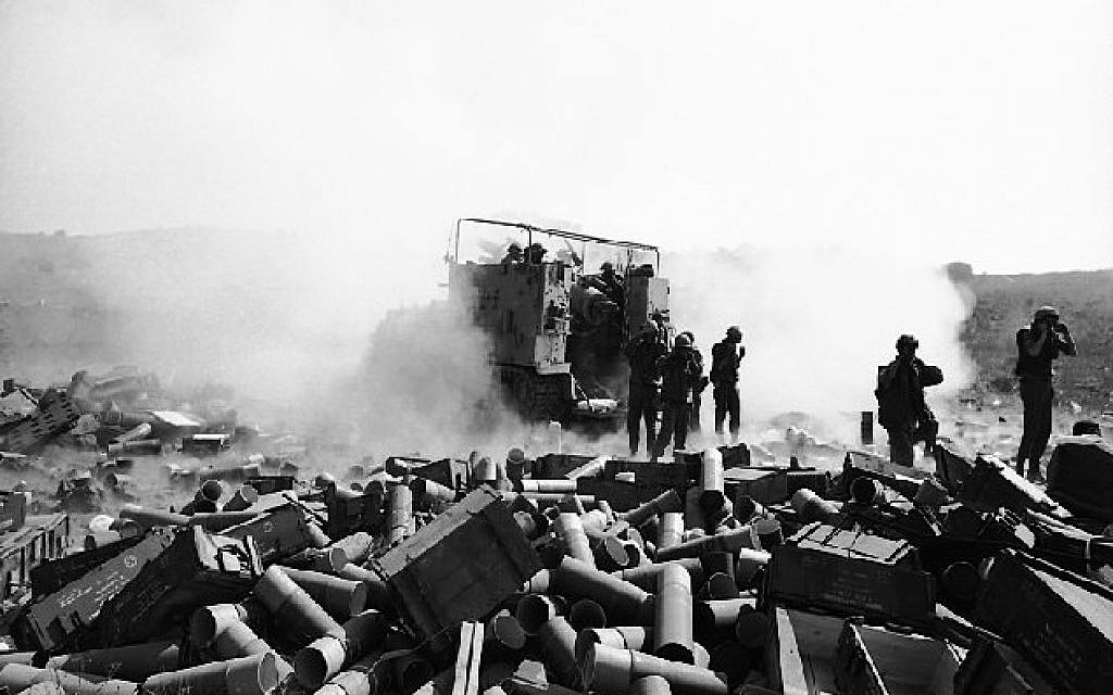 Israeli artillery on the Golan Heights, 1973 (photo credit: CC BY-SA Israel Defense Forces, Wikimedia Commons)