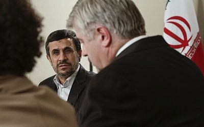 Iranian President Mahmoud Ahmadinejad speaks during an interview with Associated Press editorial staff on Tuesday, Sept. 25, 2012 in New York. (photo credit: AP Photo/Bebeto Matthews)
