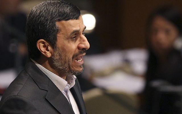 Mahmoud Ahmadinejad speaking at the United Nations on Monday. (photo credit: AP/Seth Wenig)