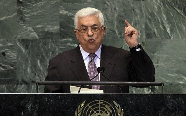 Palestinian Authority President Mahmoud Abbas addresses the 67th session of the United Nations General Assembly at UN headquarters in September 2012 (photo credit: AP/Richard Drew)