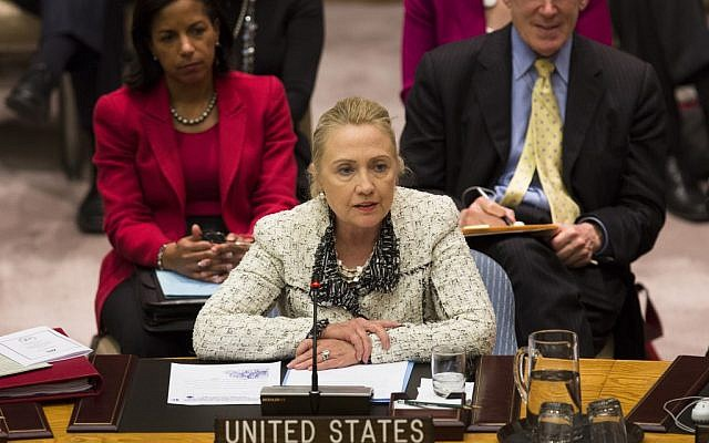 US Secretary of State Hillary Clinton during a meeting of the Security Council during the 67th U.N. General Assembly on September 26. (photo credit: AP/John Minchillo)