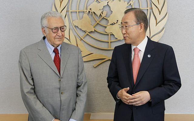 UN chief Ban Ki-moon (right) meets with Lakhdar Brahimi (photo credit: AP/David Karp)