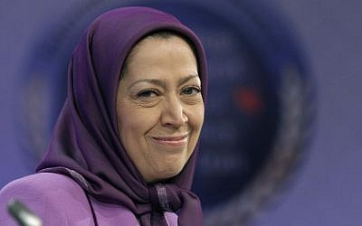 Maryam Rajavi, president-elect of the Iranian opposition party National Council of Resistance of Iran, smiles as she attends an international conference on Iranian policy in Brussels in 2011. (photo credit: Yves Logghe/AP)