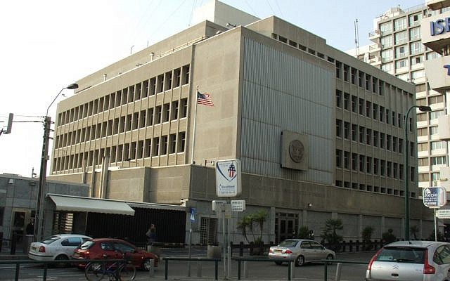 The US Embassy in Tel Aviv. (photo credit: CC-BY Krokodyl, Wikimedia Commons)